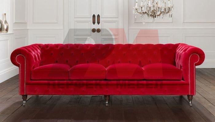 устойчива   кожена мека мебел честърфийлд